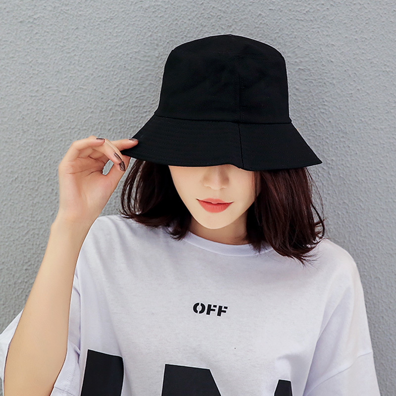 Black White Solid Bucket Hat Unisex Bob Caps Hip Hop Men Women Summer Panama Cap Beach Sun Fishing Boonie Hat