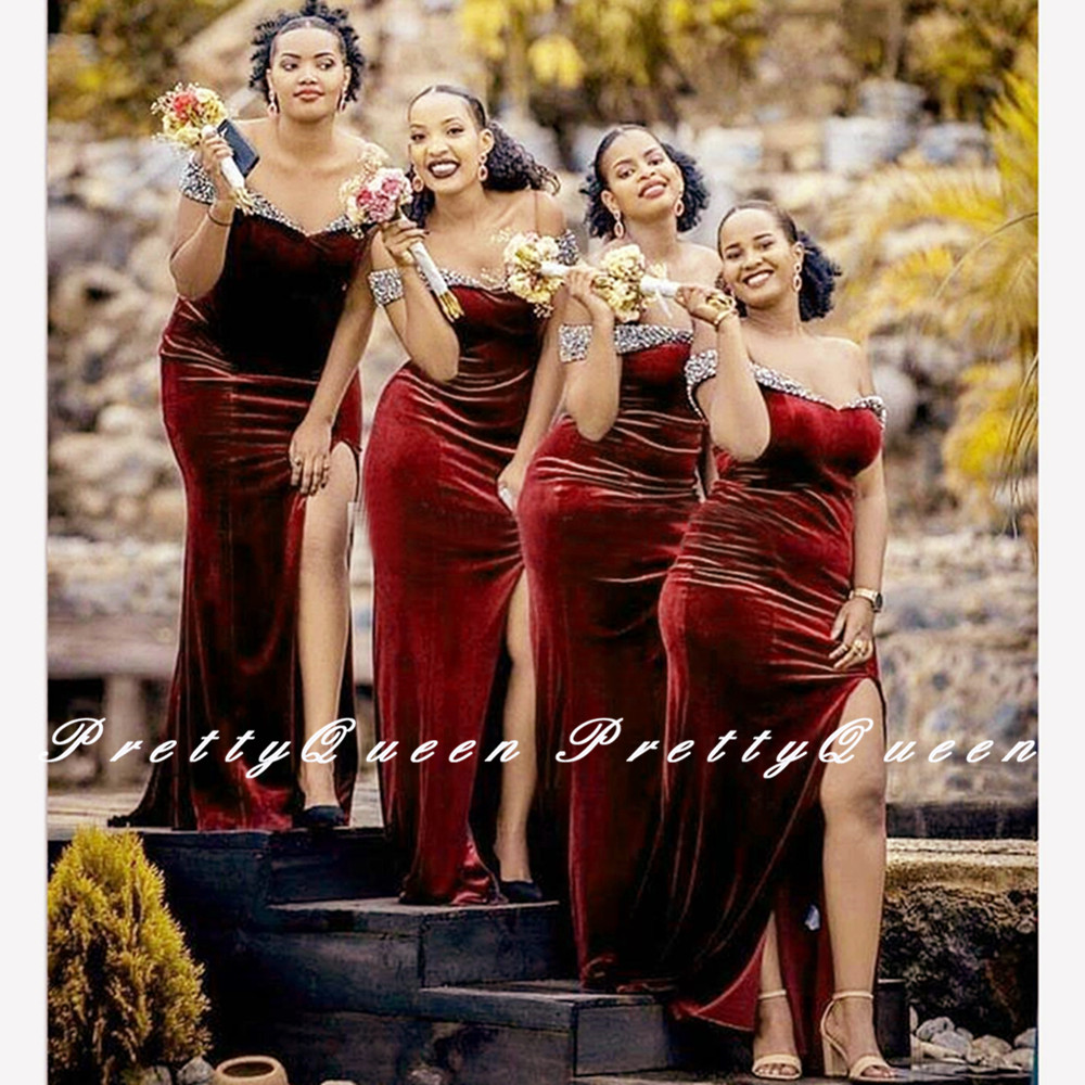 Burgundy Velvet Bridesmaid Dresses Shiny Silver Beads Sequined 2020 Mermaid Long Wedding Dress Party Robe Demoiselle D'honneur