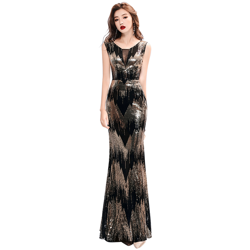Evening Dress Sleeveless Elegant Robe De Soiree Zipper Women Party Dresses 2019 Plus Size Boat Neck Sequin Formal Gowns F020