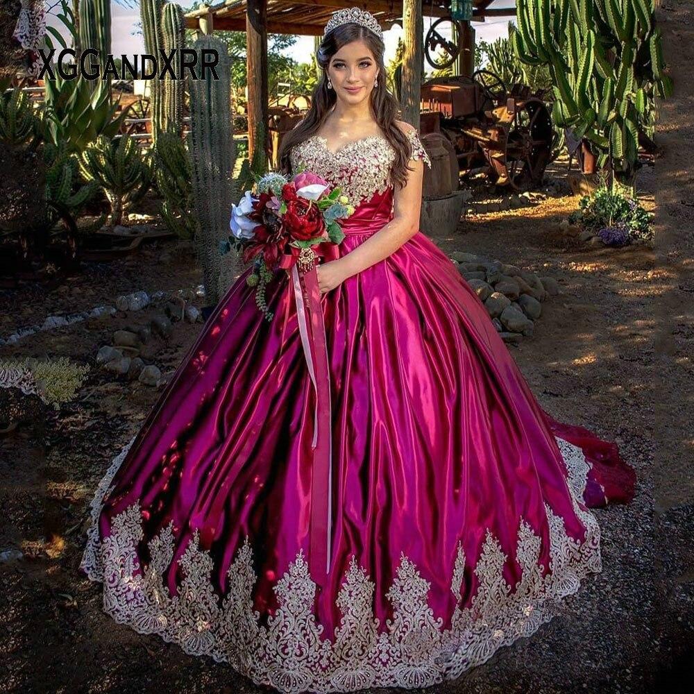 Vestido de Baile Fora do Ombro Novo Roxo Quinceanera Vestidos Querida Rendas Applique Doce 15 16 Festa Aniversário Vestido 2020