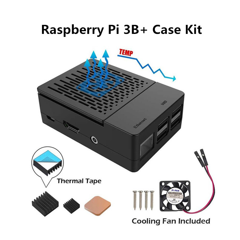 Multifunction Protection Kit For Raspberry Pi 3B+ Case With Cooling Fan Aluminum Heatsinks Black Box Shell For Raspberry Pi Case
