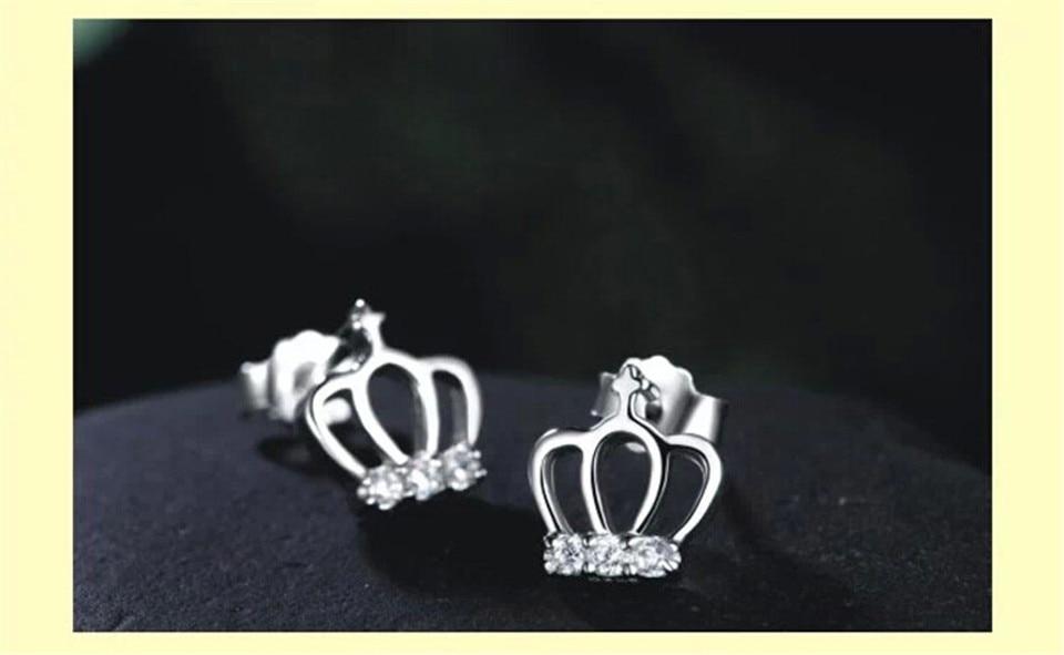 d PISSENLIT Simple Women Jewelry Statement Silver Crown Stud Earrings pendientes mujer moda 2019 Metal Grace Stud Earring Gifts