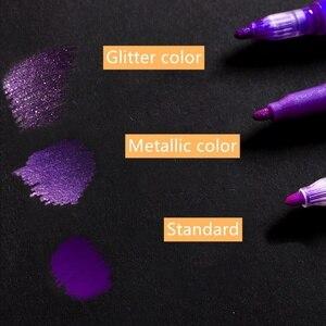 Image 4 - 3 set/lote 36 cores acrílico metálico marcador caneta glitter pintura desenho para o prego metal vidro caligrafia cerâmica lettering arte f117