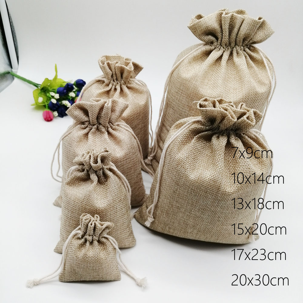 6pcs/lot Jute Bags Gift Drawstring Pouch Gift Box Packaging Bags For Gift Linen Bags Jewelry Display Wedding Sack Burlap Bag Diy