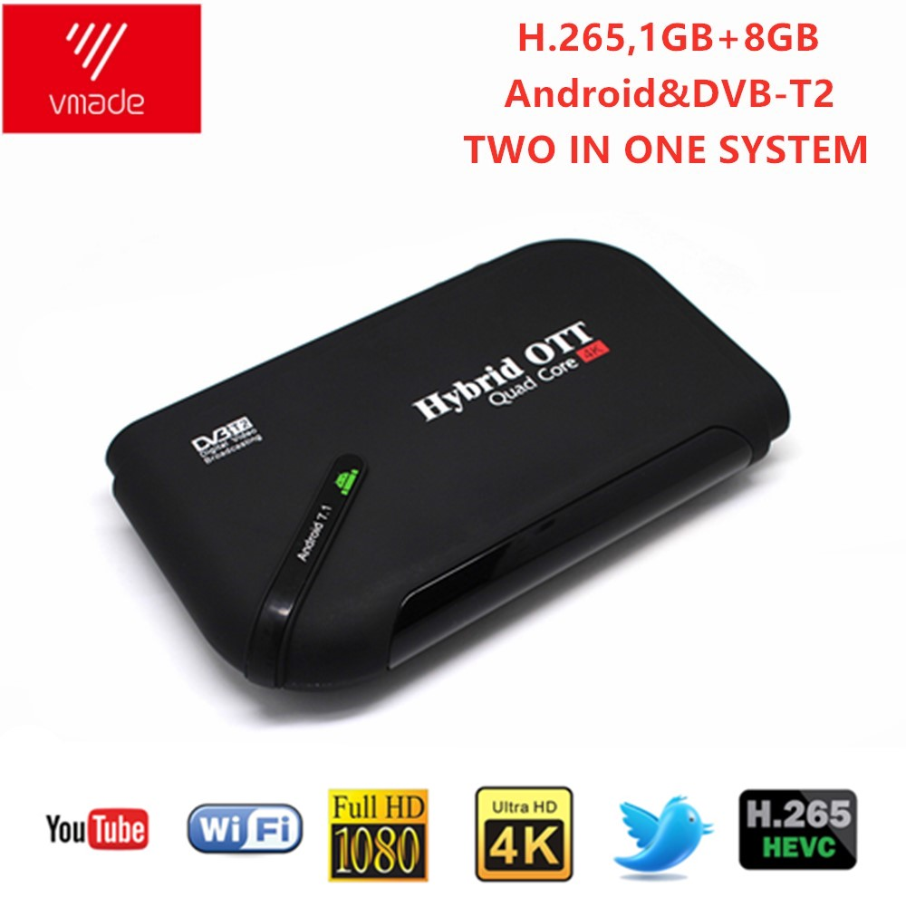 Vmade DVB T2 & Android Two-IN-One TV Box Android 7.1 Amlogic S905D 1GB 8GB H.264 Smart Set Top Boxes Support WIFI Media Player