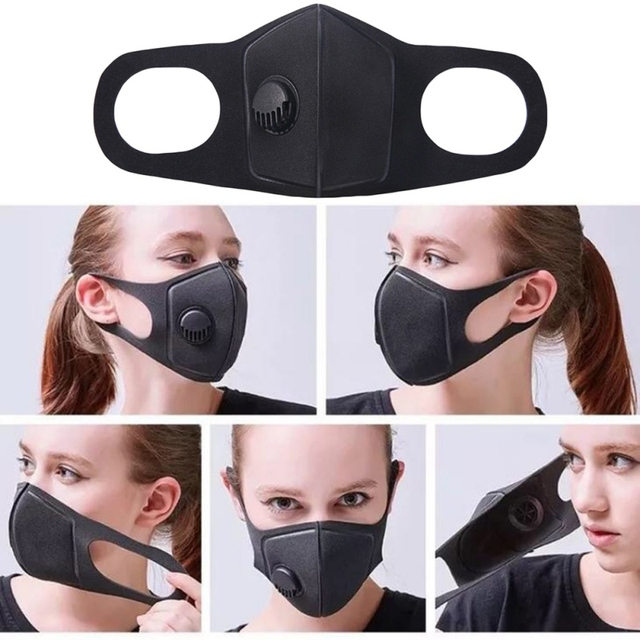 Unisex Black Mouth Masks Anti Dust Reusable PM2.5 Mask Dustproof Outdoor Travel Protection Mouth Cover Antivirus Flu Safety * 1