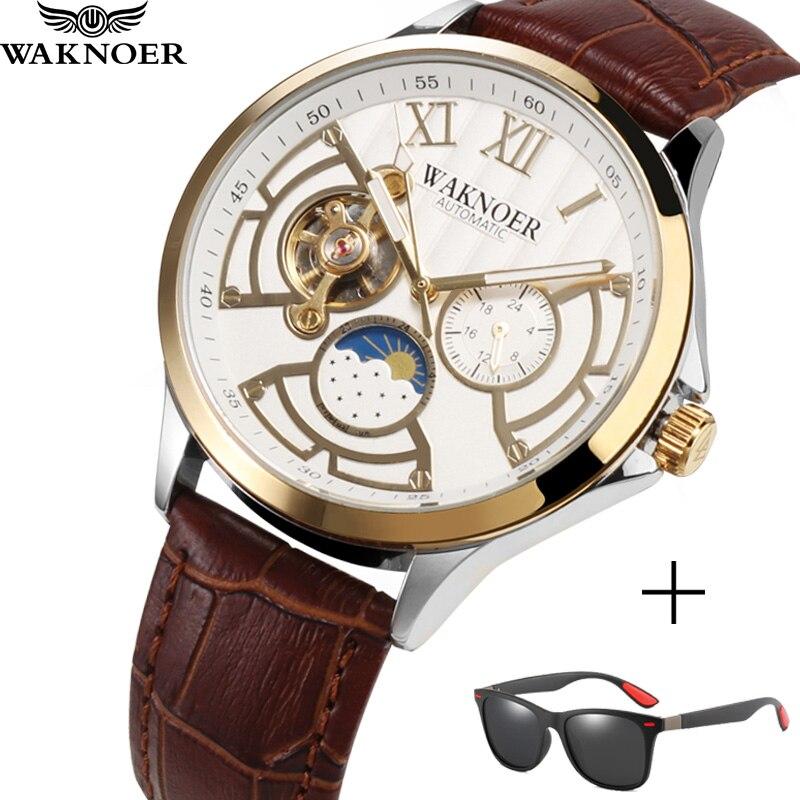 WAKNOER Top Brand Luxury Men Mechanical Watch Men Luminous Waterproof Automatic Watch Fashion Tourbillon Skeleton Watch Clock