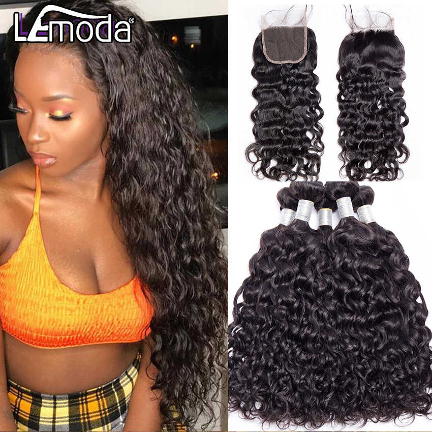 LeModa Malaysian Water Wave Human Hair Bundles With Closure 3 or 4 Bundles With Closure Remy Hair Extensions Middle Free Closure