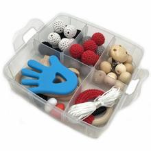 44Pcs DIY Wooden Bead Set Nursing Pacifier Clip Chains Food Grade Beech Jewelry Accessories Crochet Teething Toy