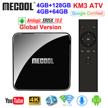 MECOOL KM3 Android 10.0 TV Box 4G 64G 128G ROM certificado p