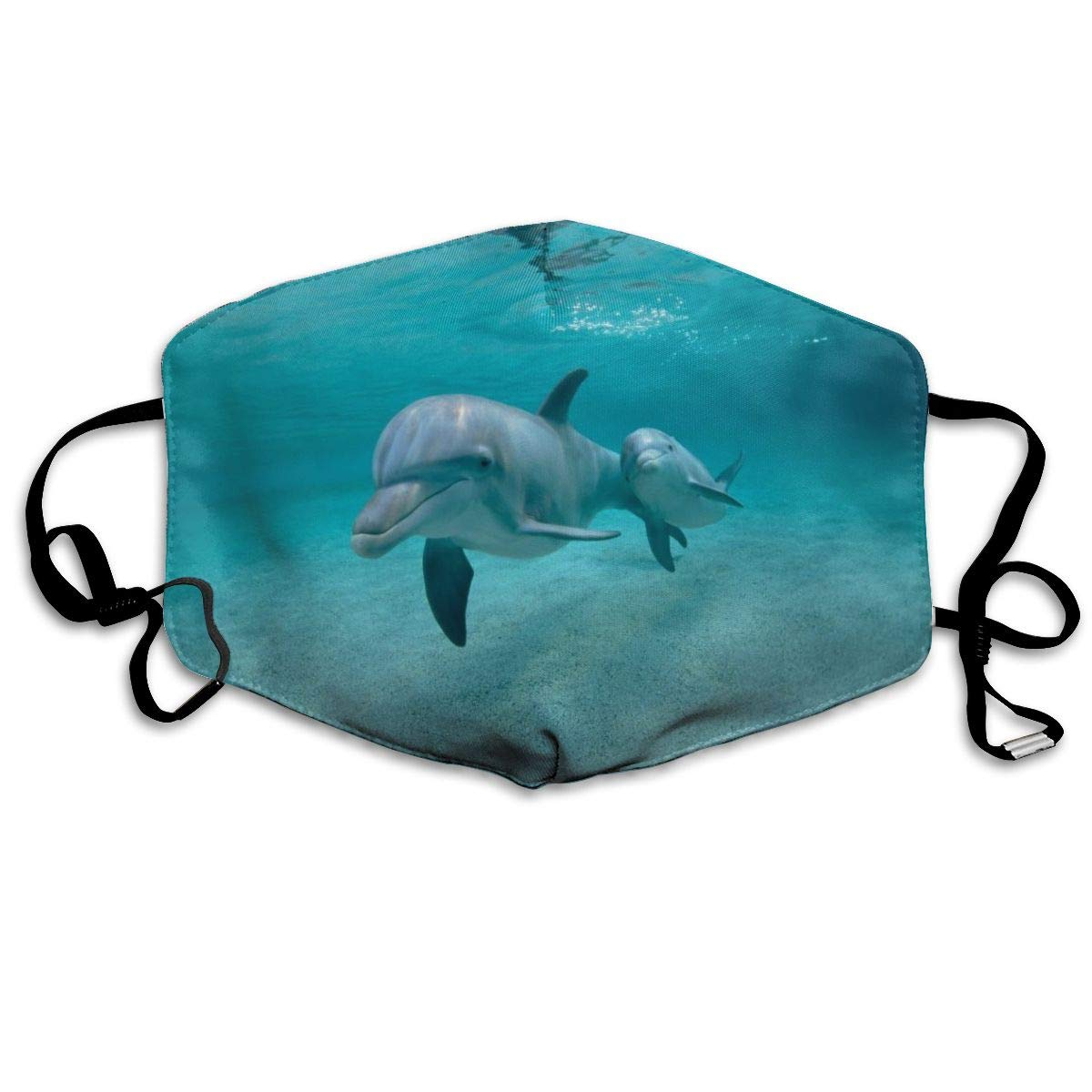 Underwater Dolphins Dust Mask, Reusable Washable Mouth Masks, Adjustable Warm Face Mask Unique Cover Filters Blocking Pollen
