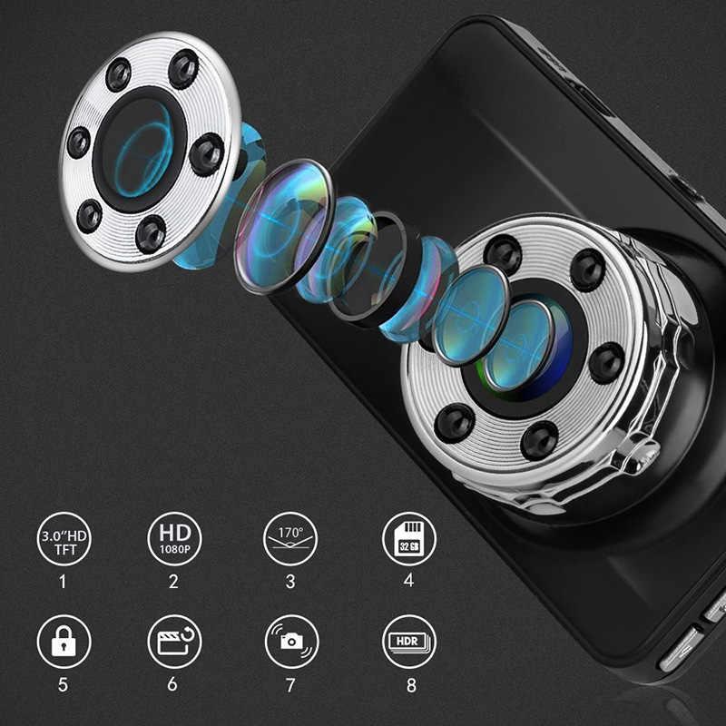 """HD 1080P Dash Cam de doble lente 3 """"IPS coche DVR cámara de vehículo con cámara de visión trasera grabadora de vídeo visión nocturna g-sensor"""
