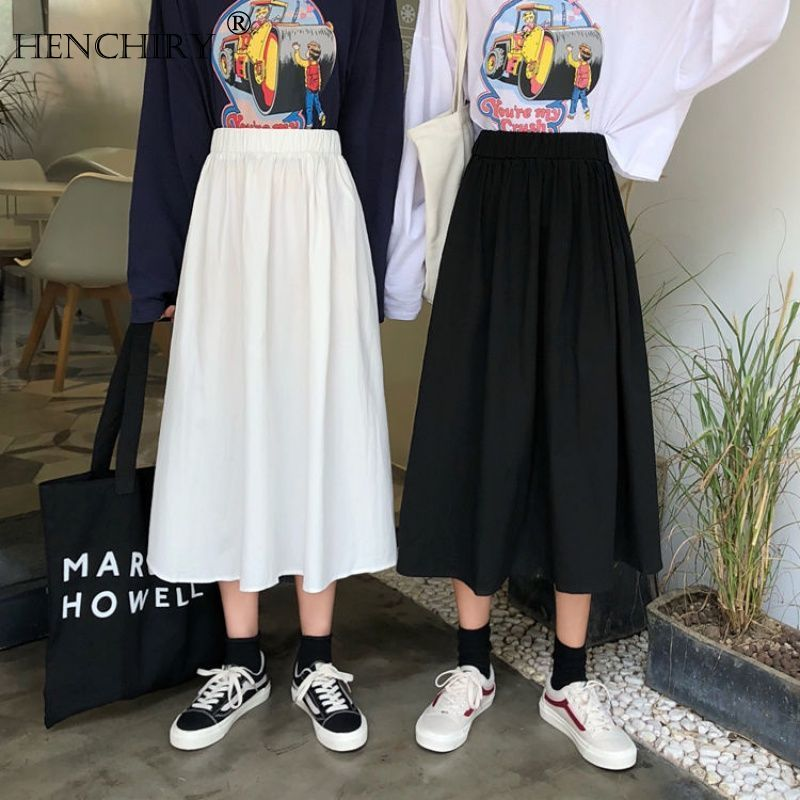 HENCHIRY Spring 2020 New Korean Version Of White Tooling Skirt Student Retro A Word High Waist Pleated Skirt Summer Woman Skirt