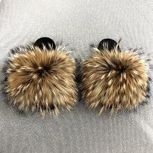 Chinelos de pele das mulheres tamanho 36-45 senhoras sapatos de pelúcia bonito cabelo de raposa sandálias macias chinelos de pele feminina verão chinelos snug