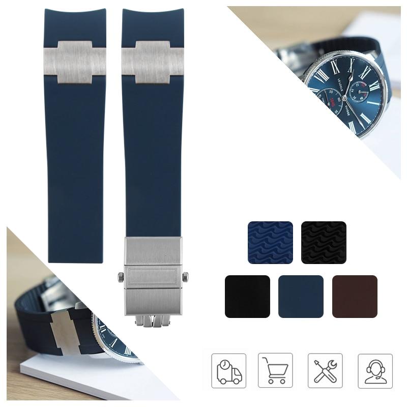 Ремешок для часов из водонепроницаемой силиконовой резины, черный, коричневый, синий, 22-20 мм