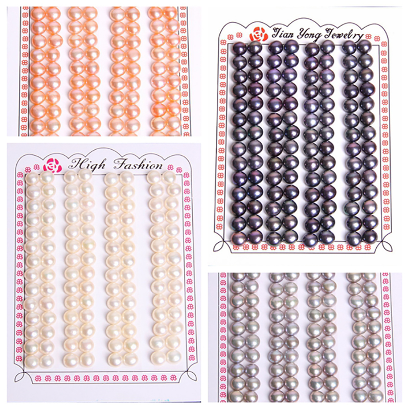 Lote de 10 unidades de perlas de agua dulce de grado AAA, negras naturales, blancas, grises y rosas, cuentas con orificio sueltas medio perforado para DIY, accesorios de joyería