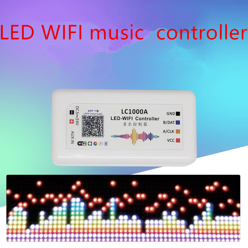 LC2000B LC1000A LED Wifi Music Controller With Mic For Digital Pixels Panel Screen Strip Light WS2812B Addressable APP Control