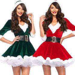 Fashion Women Half Sleeve Solid Popular Ladies Santa Claus Xmas Costume Cosplay Outfit Waistbelt Fancy Christmas Mini Dress 3