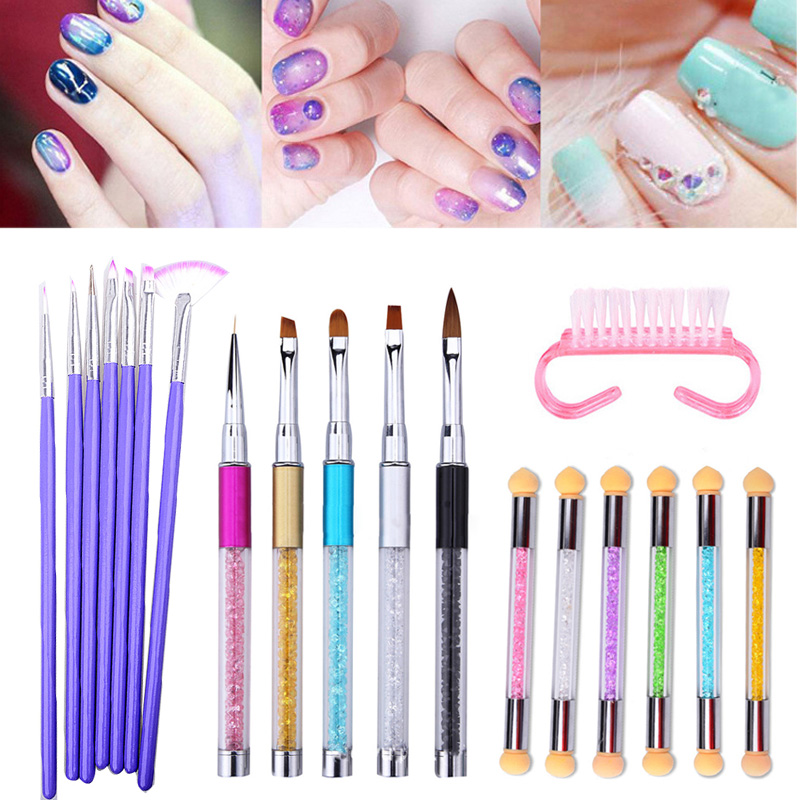 Professional Nail Brush Set UV Gel Nail Polish Painting Drawing Brushes Sponge Manicure Nail Art Rhinestone Dotting Pen Tool