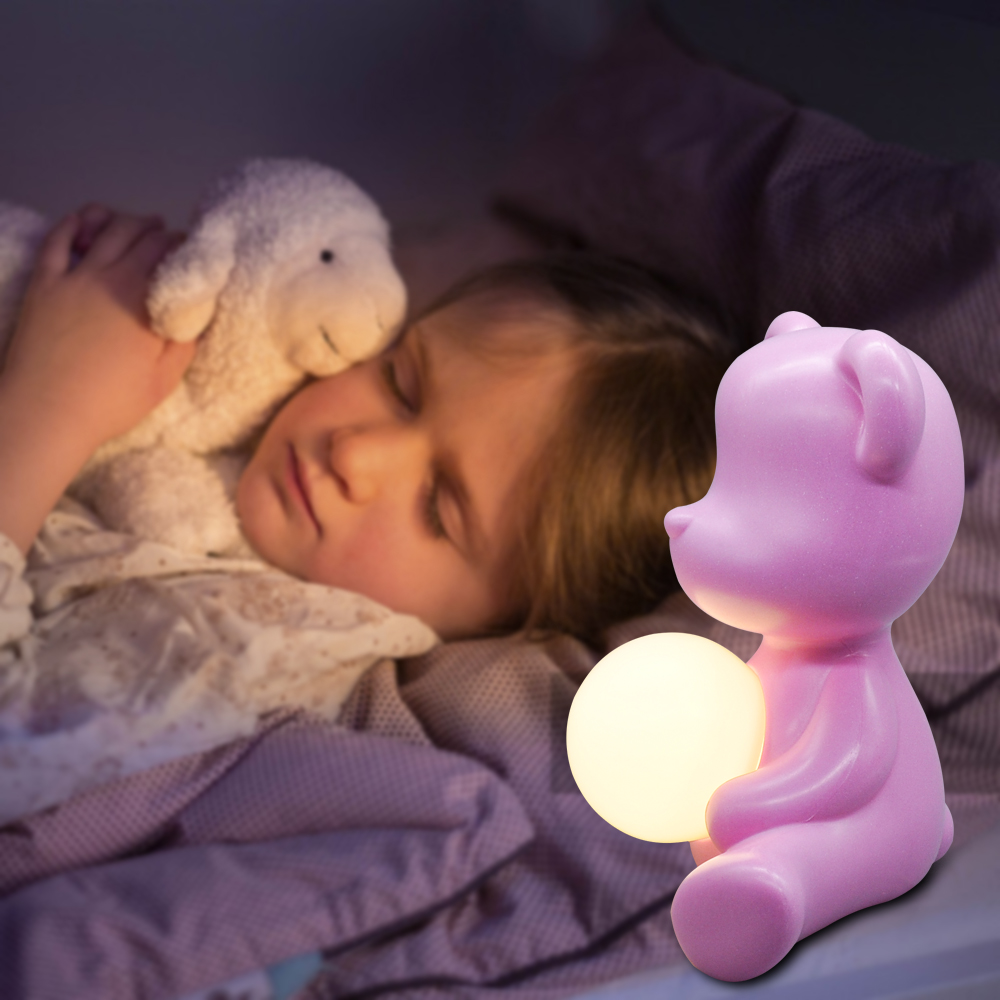 Kid Gift 5W Table Night Light Pink Blue with Plug in, Italy Design Lovely Bear ABS Bedside Study Table LED Light for Girl Boy - 5