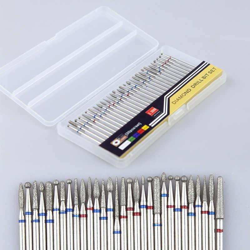 30 adet elmas kesiciler manikür seti tırnak matkap uçları kaldırmak için UV jel freze kesicisi manikür pedikür tırnak törpüsü sanat aracı