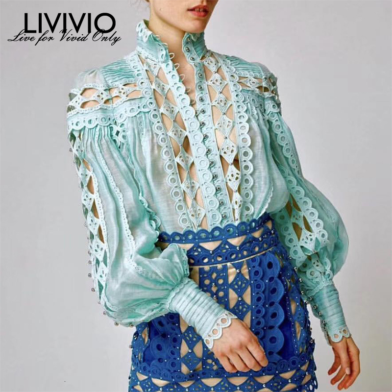 [LIVIVIO] Patchwork Lace Beading Sexy Sheer Blouse Women Shirt Lantern Long Sleeve Stand Neck Tops Female Autumn Korean Fashion