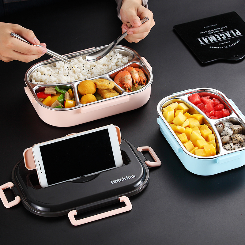 Lunch Box Food Container Microwave Heated Lunch Box For Kids 304 Stainless Bento Lunch Box Food Container Kitchen Accessories