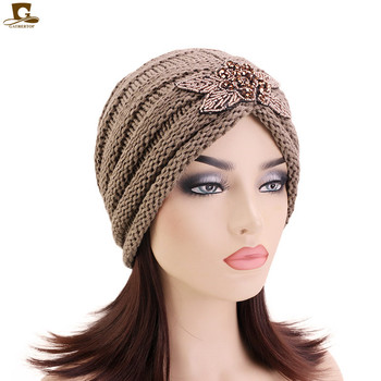 New Fashion beaded flower slouchy beanie ski baggy hat knitted turban cap Winter Warm Knitting Hats Pleated Caps free shipping 200pcs lot fashion lady girls winter warm knitting wool cat ear beanie ski hat cap