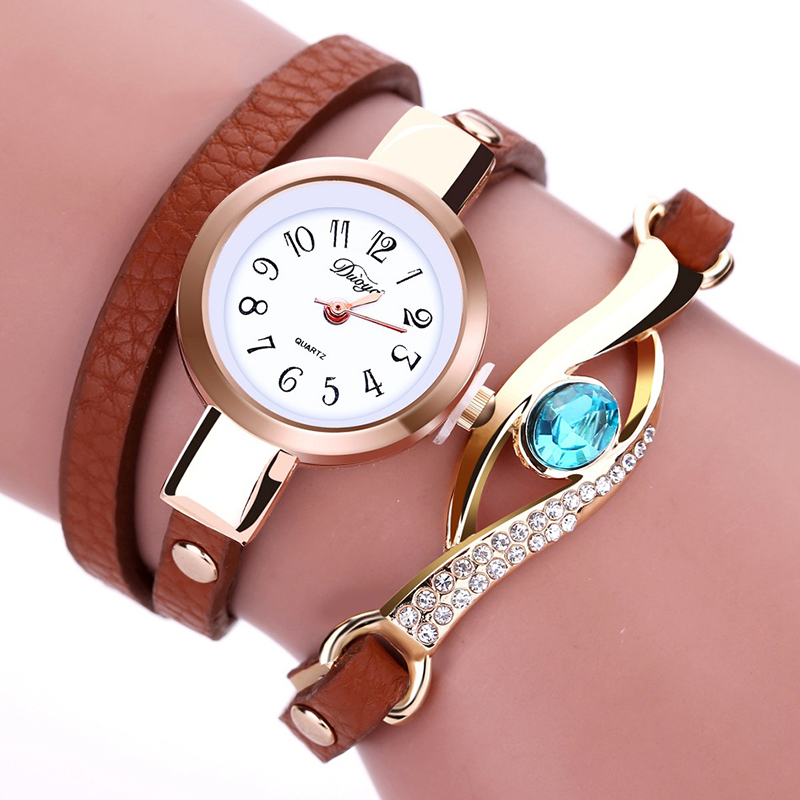 Women's Watches Vintage Leather Rhinestone Sapphire Wristwatch Bracelet Quartz Watch Female Fashion Ladies Wrist Watch