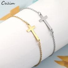 Pulseira religiosa de aço inoxidável, nova pulseira feminina dourada de aço inoxidável com pingente cruz, corrente de amizade, joias religiosas, 2020