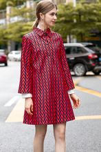 Europe and America womens loose coat 2019 Fall / winter fashion print Trench A727