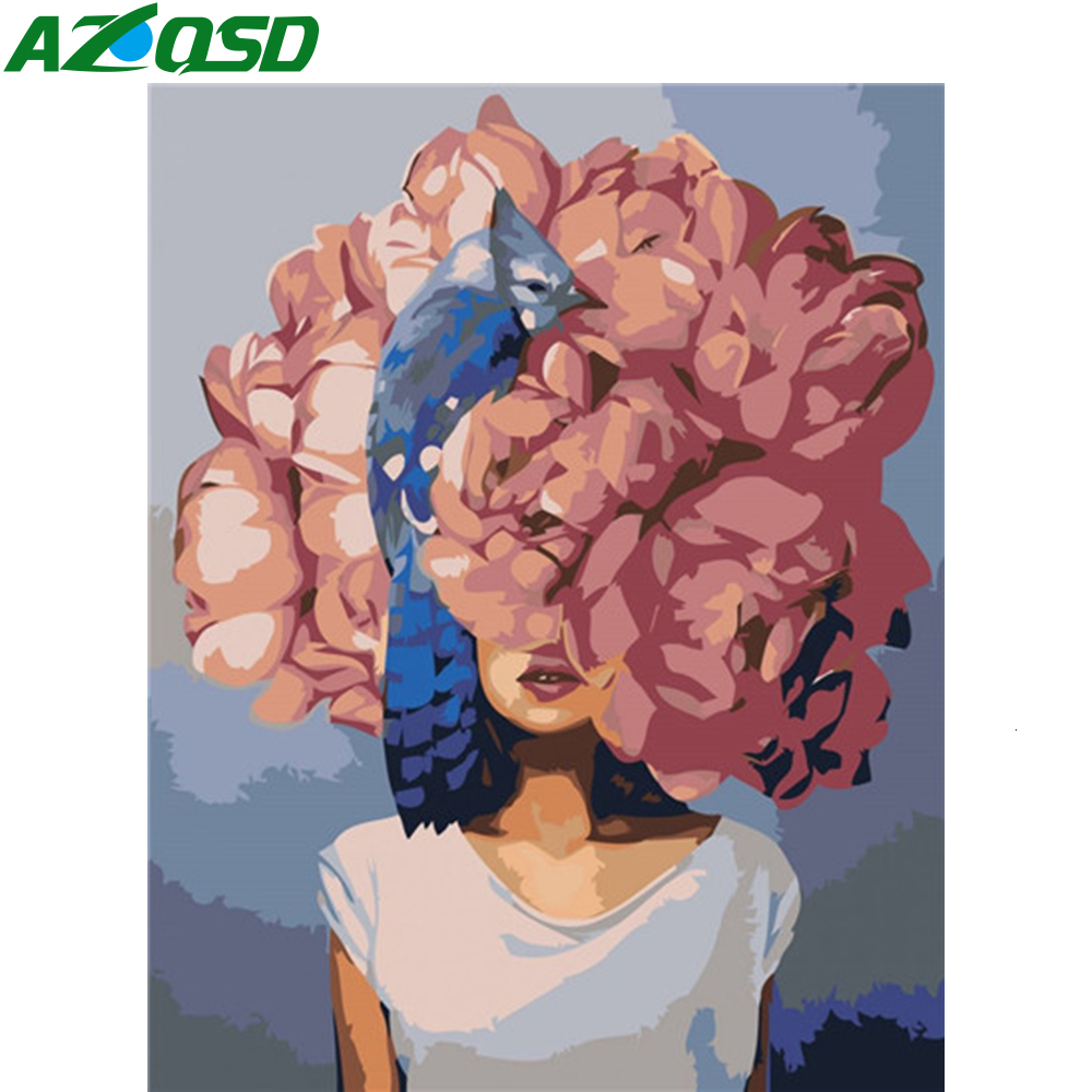 AZQSD DIY Paint By Numbers For Adults Portrait 40X50cm No Frame Girl Paint By Number Canvas Painting Kits Home Decoration