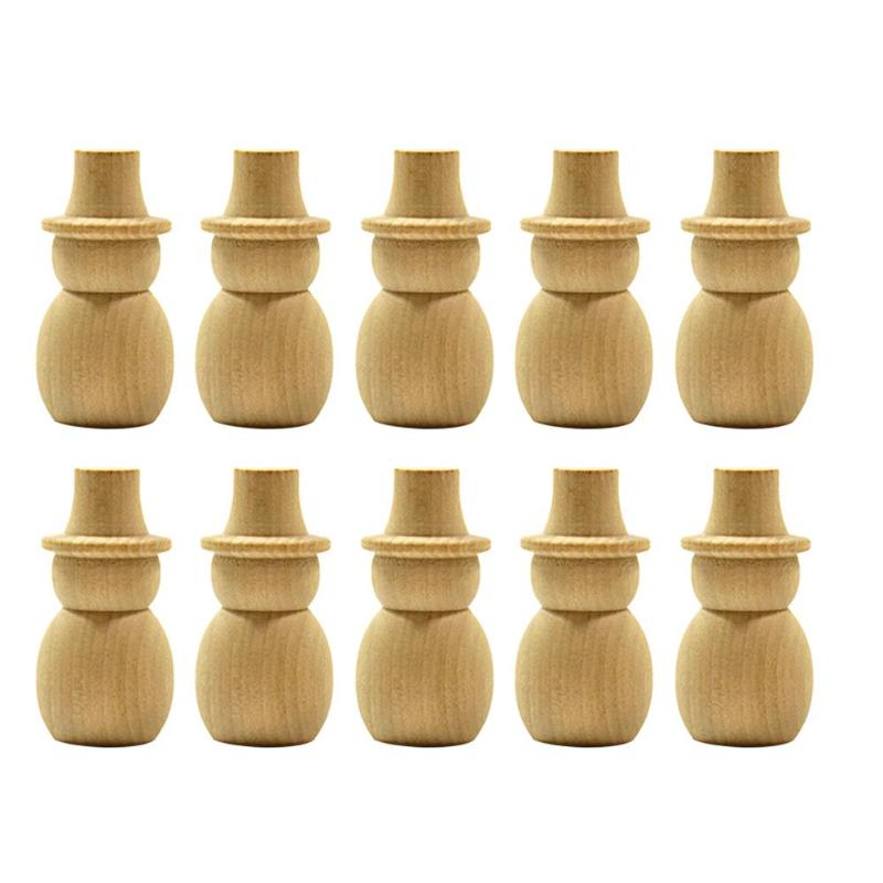 10pcs DIY Snowman Wooden Peg Doll Wedding Cake Topper Home Decorative Craft