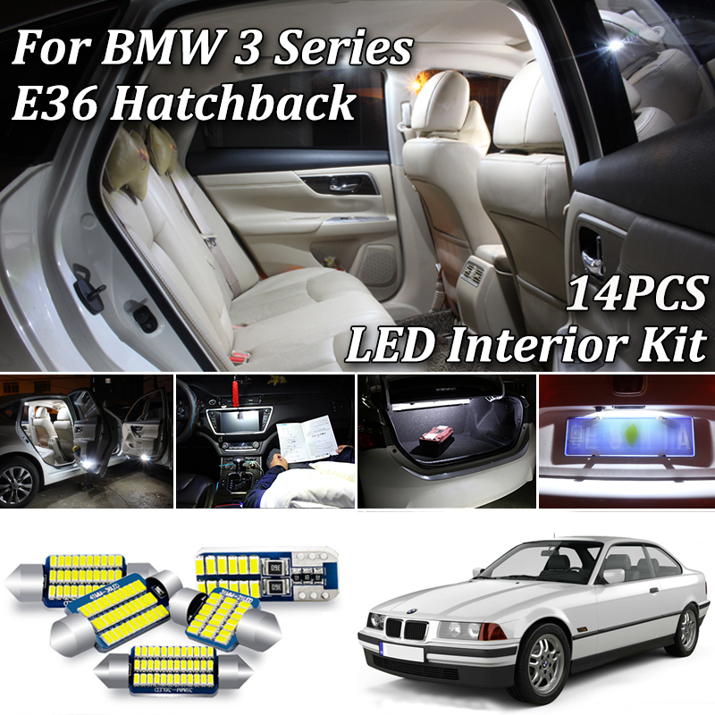 14Pcs White Error Free Canbus For BMW 3 Series <font><b>E36</b></font> M3 Compact Hatchback <font><b>LED</b></font> Interior Light + License Plate Lamp Kit (2-Door) image