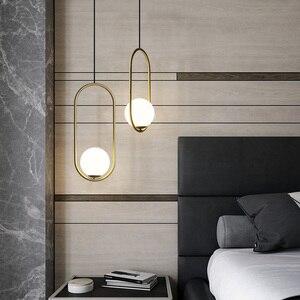 Image 3 - Modern LED Round Glass Ball Pendant Lights Iron E14 Pendant Lamps Hanging Light Fixture for Living Bedroom Dining Room