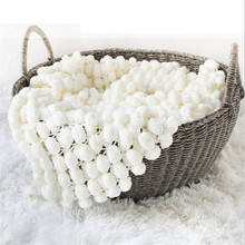 Newborn Props for Photography Hand-Woven White Ball Blanket Infant Photo Props Girl Crochet Blanket Baby Props for Shooting handmade blanket for newborn baby photo props crochet rose flowers pink floral knitted receiving blankets photography props