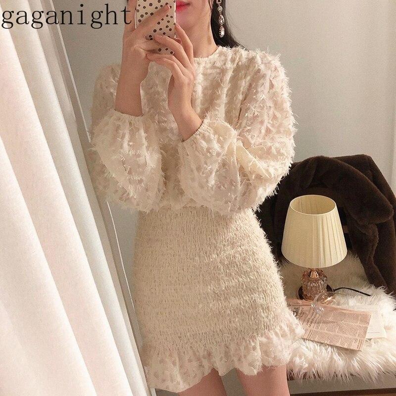 Женское Короткое облегающее платье Gaganight, облегающее мини-платье с длинным рукавом, круглым вырезом и оборками, однотонное облегающее плать...