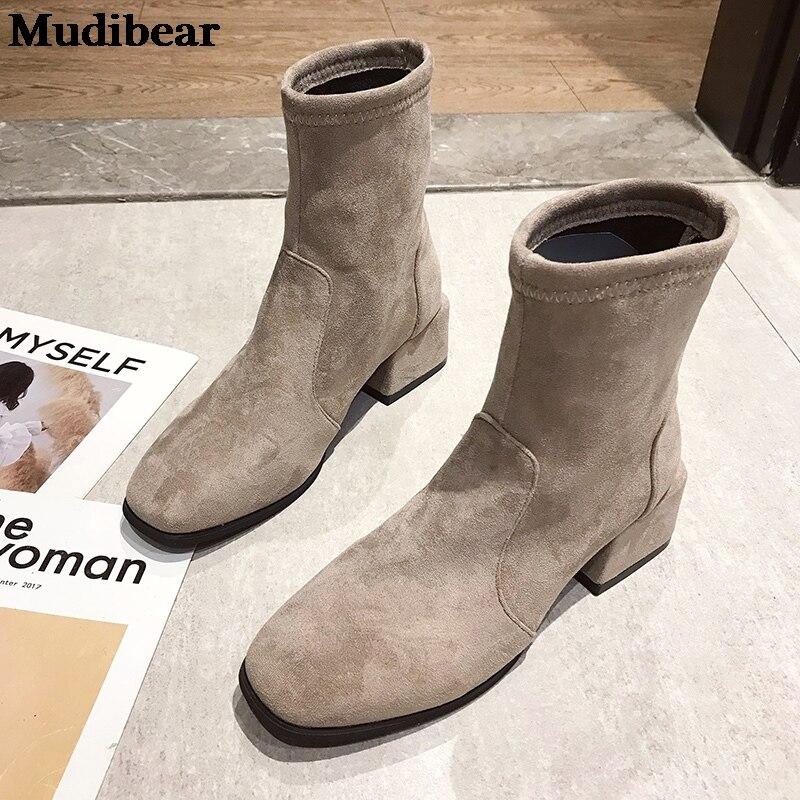 Купить mudibear женская обувь на квадратном каблуке 2020 зимние сапоги