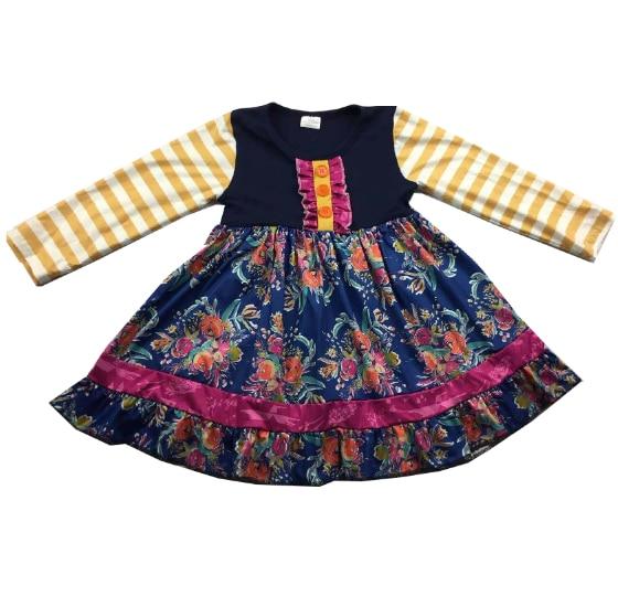 لطيف الفتيات فستان بكم طويل الأزهار تصميم فستان كبير بلون مشرق
