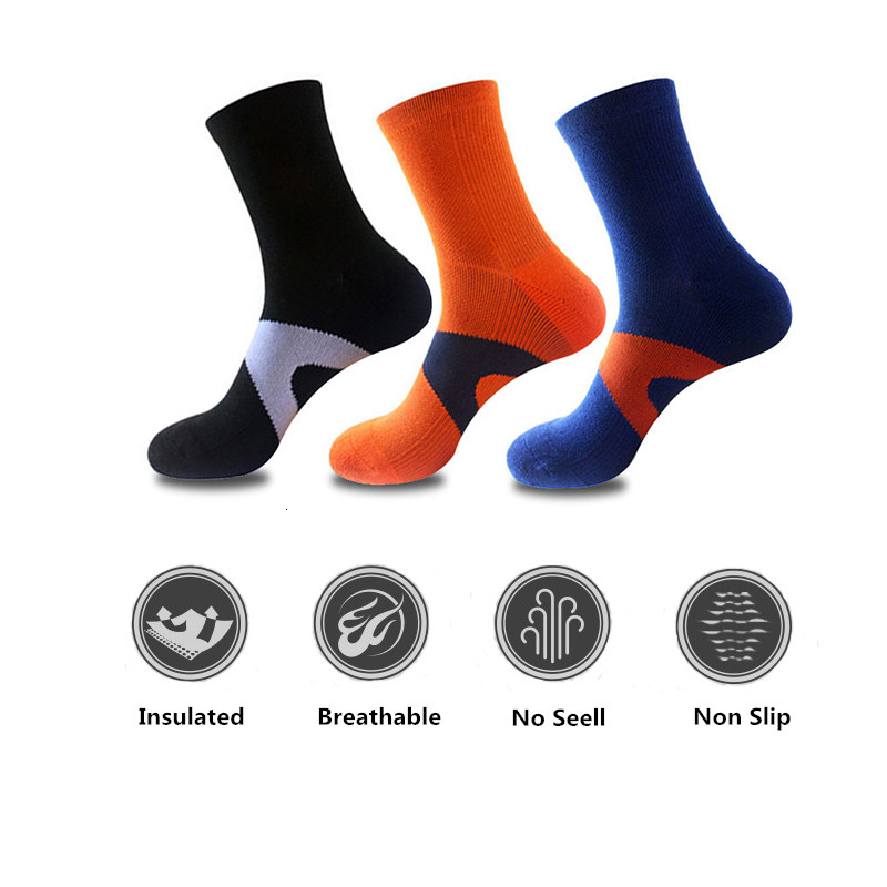 1 Pair Breathable Compression Sport Socks Men Calf Short Cotton Socks Quick Dry Basketball Racing Cycling Socks Patchwork Color