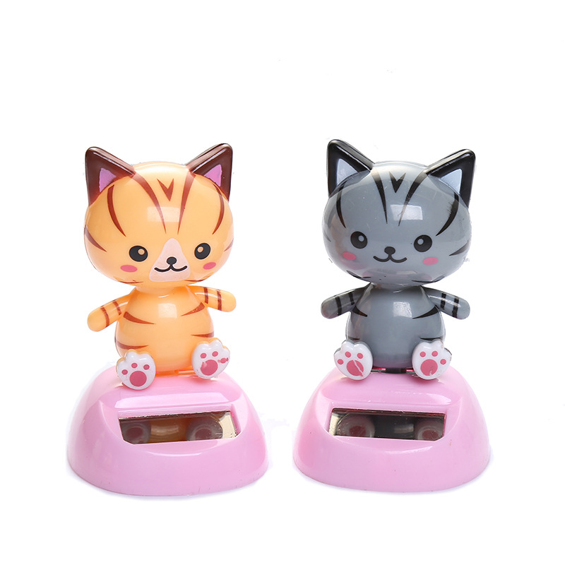 1Pcs Funny Vibrant Solar Energy Swing Cat Shaking Head Doll Toys Novel Cratoon Car Accessories Decoration Kids Recreation Toy