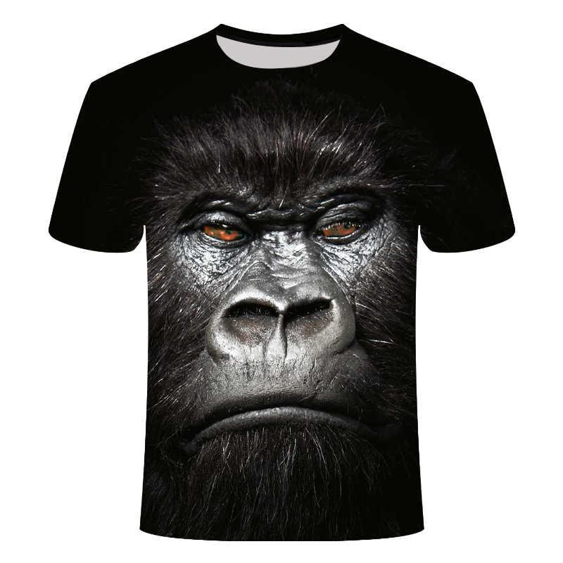 2019 zomer mannen merk kleding O-hals korte mouwen animal T-shirt aap/leeuw 3D Digitale Gedrukte t-shirt Homme grote maat 6xl