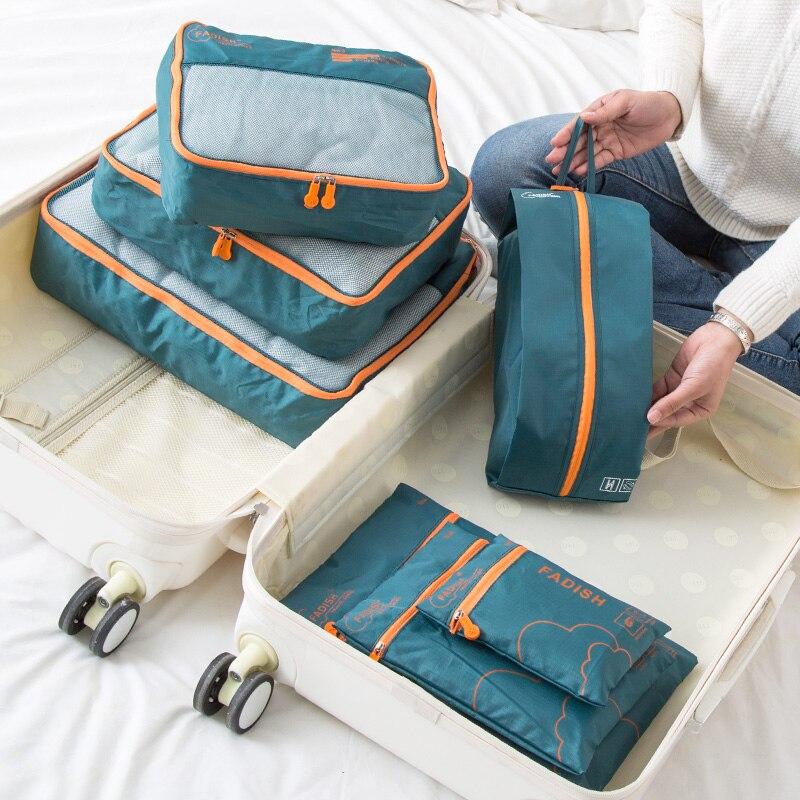 7 шт. Портативный дорожные сумки для хранения одежды, обуви, органайзер для косметики туалетных Комплект для багажа аксессуары поставок