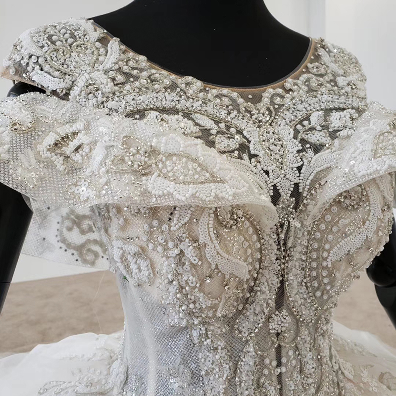 Image 5 - HTL1144 ball gown wedding dress boho boho plus size o neck lace up back corset bridal dress cap sleeve bead vestdos de noviaWedding Dresses   -
