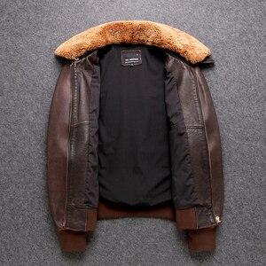 Image 4 - 送料無料。クラシックG1 爆撃機、メンズ屋外牛革コート、ヴィンテージ革ジャケット、男性本革ジャケット。ブラウン生き抜く