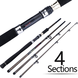 Sougayilang Portable 4 Section Fishing Rod 2.7M Ultralight Weight Carbon Fiber Spinning Fishing Rod EVA Handle Fishing Tackle