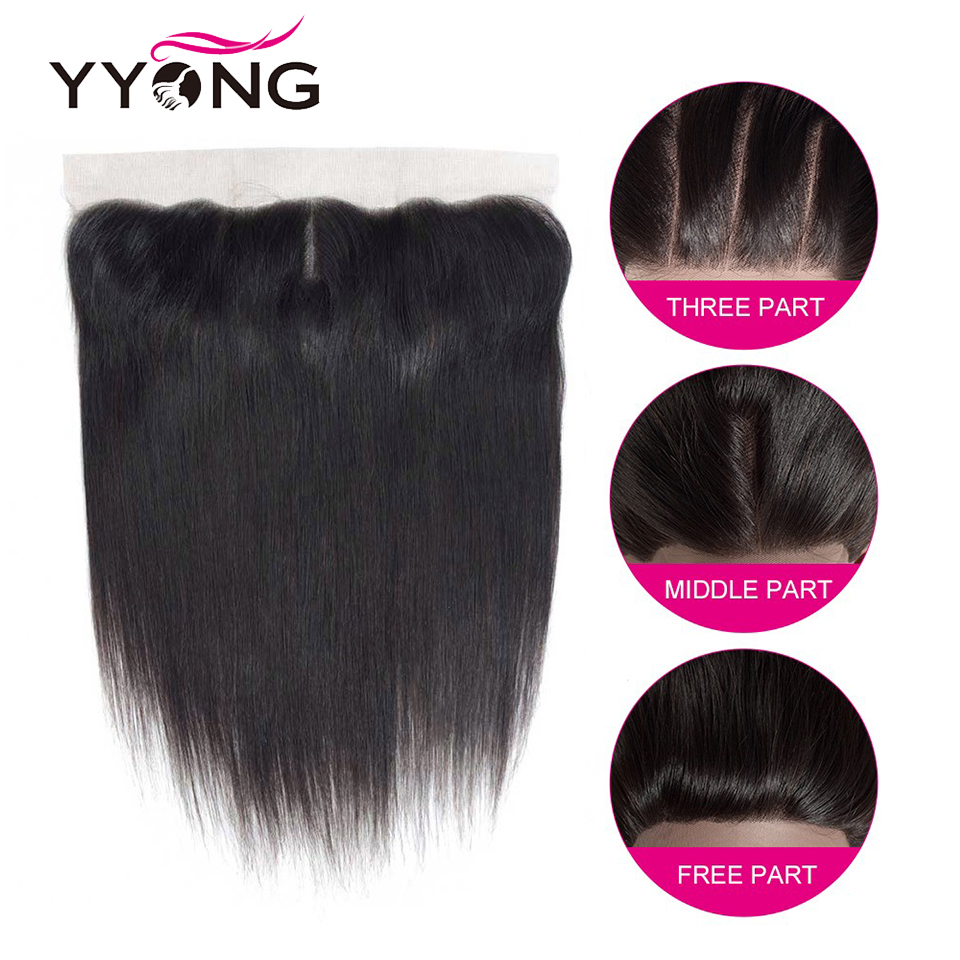 YYong Hair 3 Bundles Brazilian Straight Hair Bundles With Closure Pre Plucked 13*4 Ear To Ear Lace Frontal Closure With Bundles