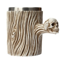 Skull Decayed Wooden Cup Removable 304 Stainless Steel Liner Resin Mug Wine Glass 501-600ml 200ml hot sale creative home decoration 3d resin skull shape stainless steel wine goblet