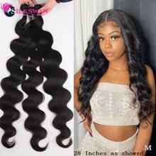 Extensiones de cabello humano silkswan 26 28 30 pulgadas, mechones de pelo brasileño Body Wave 1/3/4 Uds Bundles extensiones de cabello Remy de Color Natural