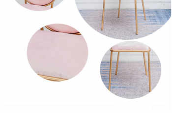 Milk Tea Shop Net Red Backrest Chair Simple Household Table and Chair Iron Gold Marble Coffee Table